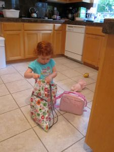 Red packing for her first day of pre-school