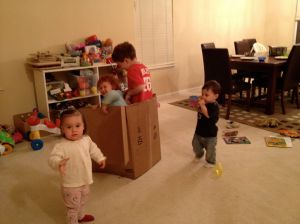 Four kids and an Amazon box